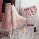 裙子 花朵蕾絲綁帶蝴蝶結鬆緊紗裙長裙-R...