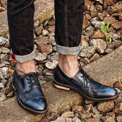 真皮短靴-繫帶巴洛克雕花英倫復古男靴子2色73kk37[巴黎精品]