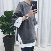 夏裝半袖假兩件打底衫bf風情侶短袖5分韓版寬鬆T恤男潮t   蜜拉貝爾