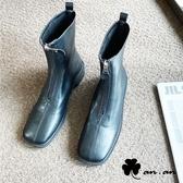 短靴 好感素面前拉鍊方頭低跟短靴(黑)* an.an【18-A683-3bk】【現+預】