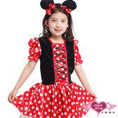 兒童角色扮演 紅 可愛米老鼠米妮小孩角色服 萬聖節 耶誕裝 表演服 天使甜心AngelHoney