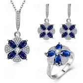 925純銀銀飾套裝含項鍊+耳環+戒指-藍水晶鑲鑽生日情人節禮物女飾品73bv3【時尚巴黎】