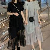 棉質 下襬拼接蕾絲洋裝-中大尺碼 獨具衣格