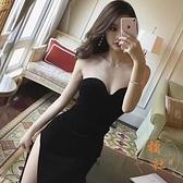 連衣裙 項圈氣質黑色高側開叉修身顯瘦絲絨抹胸長裙禮服【橘社小鎮】