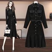 洋裝連身裙中大尺碼M-4XL新款長袖繫帶魚尾胖mm遮肚子中長款打底裙R21-9958.胖胖唯依