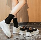 厚底帆布鞋女2021年春秋款休閒女鞋松糕鞋增高小白鞋夏季百搭單鞋 小時光生活館