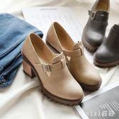 牛角皮鞋2019秋季新款復古英倫風皮帶扣圓頭學院風高跟厚底粗跟單鞋 XN5077【VIKI菈菈】