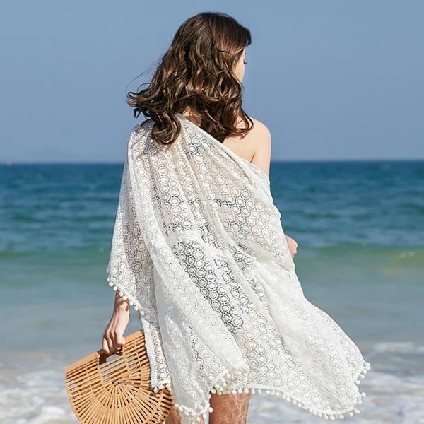 海邊度假沙灘泳衣罩衫女單件可下水外搭溫泉寬松比基尼罩衫長款白TBF10-B.1號公館
