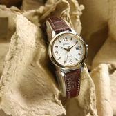 CITIZEN 星辰表 / EW2234-12A / 光動能 藍寶石水晶玻璃 日本製造 日期 牛皮手錶 白x香檳金框x深褐 27mm