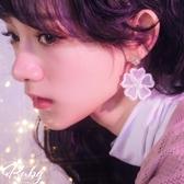 耳環 韓國直送‧刺繡網紗花朵水鑽耳環-Ruby s 露比午茶