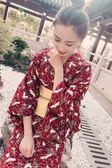 日本改良和服女浴袍衣長款日式外套寫真 莎瓦迪卡