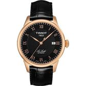 TISSOT 天梭 Le Locle 力洛克圖騰紋機械錶-黑/玫塊金 T41542353