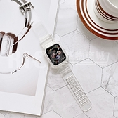 apple watch 1-6 se 冰川錶帶 適用123456代蘋果手錶透明錶帶蘋果一體錶帶錶殼