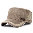 卡車帽新品正韓春時尚男士平頂帽拼接做舊軍帽休閒防曬遮陽帽 快速出貨