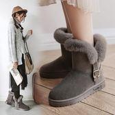 【35-40全尺碼】雪靴. 中統釦帶增高顯瘦好穿雪靴【全館85折】