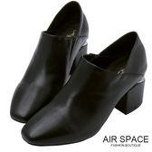 踝靴 金屬切口造型方頭踝靴(黑)-AIR SPACE