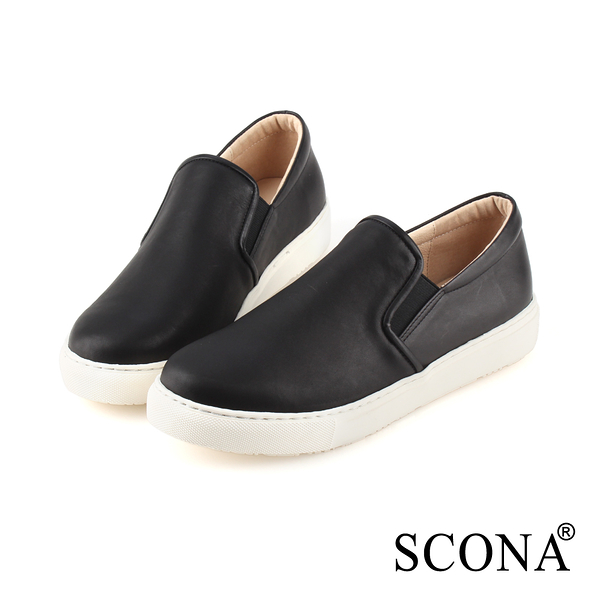 SCONA 蘇格南 全真皮 簡約舒適厚底樂福鞋 黑色 7290-1