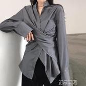 心機設計感chic襯衫女2019韓版ins超火bf寬鬆不規則顯瘦長袖上衣