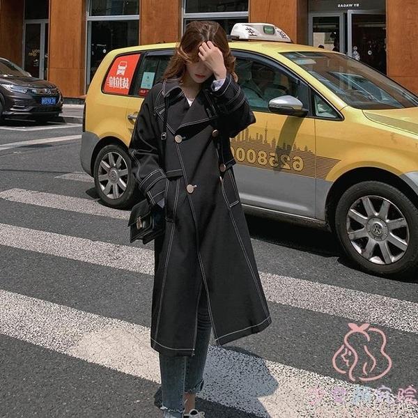 大衣女秋冬氣質顯高韓版英倫風寬鬆大衣外套中長款【少女顏究院】