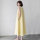 洋裝 棉麻無袖背心洋裝女夏2020新款正韓寬鬆顯瘦亞麻文藝過膝長裙子-Ballet朵朵