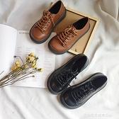 娃娃鞋 英倫低幫馬丁鞋大頭娃娃圓頭單鞋日系原宿風皮鞋女厚底中跟鬆糕鞋 萊俐亞 交換禮物