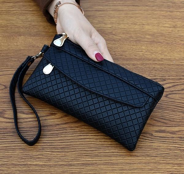 (499)-2020新款女錢包韓版手拿包潮爆簡約手機包氣質格紋零錢包小包