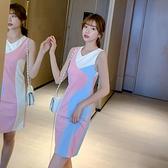 性感洋裝 泫雅風揹心裙女夏2021新款韓版修身無袖短款性感內搭洋裝包臀裙