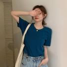 短袖T恤女夏季2021新款網紅辣妹寬鬆素色高腰露臍短款上衣服ins潮 童趣屋 免運