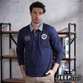 【JEEP】都市冒險經典條紋領長袖POLO衫 (海軍藍)