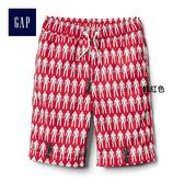 Gap男童 時尚舒適鬆緊腰印花休閒短褲 232374-鮮紅色