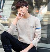 毛衣男針織衫秋冬季圓領男士毛線衣長袖韓版潮男裝純色打底衫外套  提拉米蘇