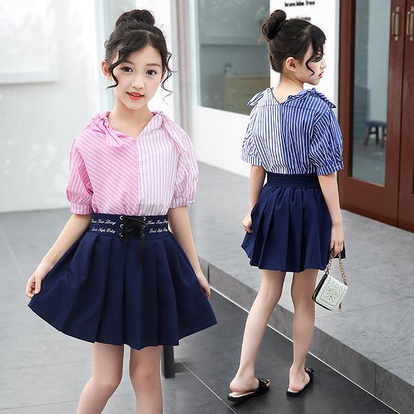 衣童趣♥條紋撞色蝴蝶結五分袖上衣+百褶短裙 兩件式套裝組 氣質休閒款套裝