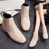 秋季新款馬丁靴女靴子粗跟韓版短靴學生中跟百搭純色絨面裸靴單靴