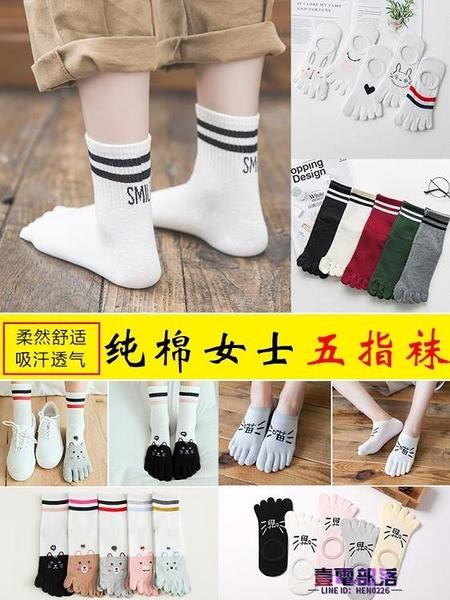 五指襪 五指襪女士純棉中筒襪子秋冬季可愛卡通船襪五趾ins潮分腳趾短襪  降價兩天