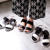 MIUSTAR 一字寬版彈性帶撞色平底涼鞋(共3色,22.5-25)【NH0744ZP】預購