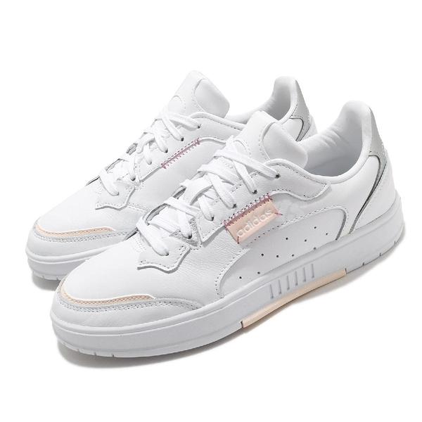 adidas 休閒鞋 Kollide 白 粉紅 皮革 愛迪達 三葉草 小白鞋 女鞋 基本款【ACS】 FX9044