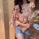 夏裝新款綁帶蝴蝶結露肩一字領寬鬆小衫T恤上衣印花女tee 道禾生活館
