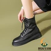 單靴軟皮短靴馬丁靴女平底百搭【創世紀生活館】