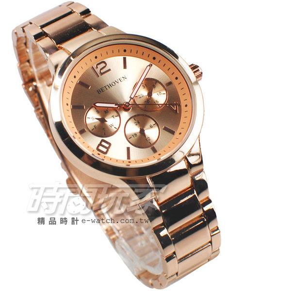 BETHOVEN 都會三眼 造型時刻 日本機芯 玫瑰金 女錶 BE2032全玫