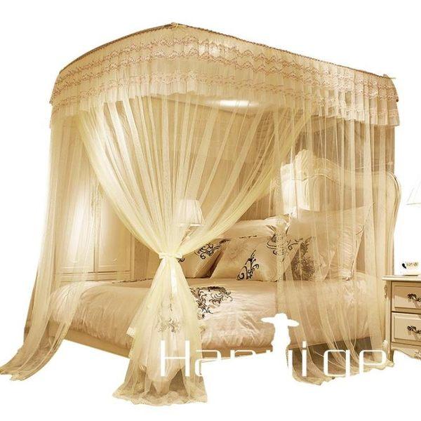 蚊帳 宮廷蚊帳南極人伸縮蚊帳U型三開門宮廷2.2雙人家用公主風支架1.5米1.8m床