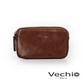 【VECHIO】經典商務男仕系列-多功用拉鍊零錢包(秋葉褐)VE041W09BR
