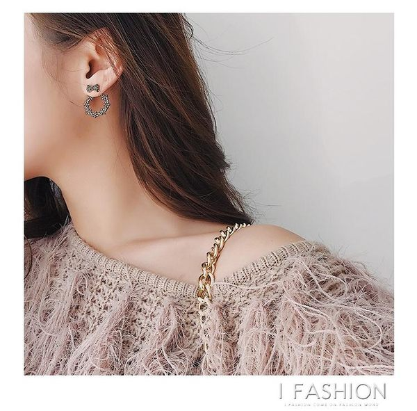 Taimi Style 韓國個性蝴蝶結超閃水鑽耳釘圓圈耳環女簡約耳飾百搭·ifashion
