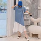 孕婦裝 MIMI別走【P521252】舒適好心情 條紋拼接雪紡連身裙 洋裝 長裙