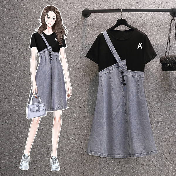VK旗艦店 韓系T恤拼接牛仔單肩寬鬆大碼休閒短袖洋裝
