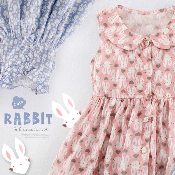 愛心兔兔公主領開釦傘狀洋裝連身裙(250527)★水娃娃時尚童裝★