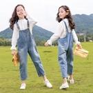 女童牛仔吊帶褲兒童秋裝小女孩長褲洋氣秋季2020新款中大童褲子 【雙十二狂歡】
