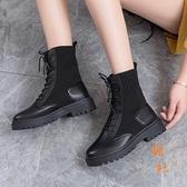 馬丁靴女秋冬百搭加絨工裝靴休閒顯瘦短靴子【橘社小鎮】