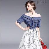 不規則網紗刺繡連身裙假兩件套女裝