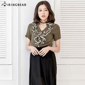 襯衫--浪漫鄉村風V型領蕾絲荷葉邊短袖襯衫(粉.綠XL-5L)-H165眼圈熊中大尺碼
