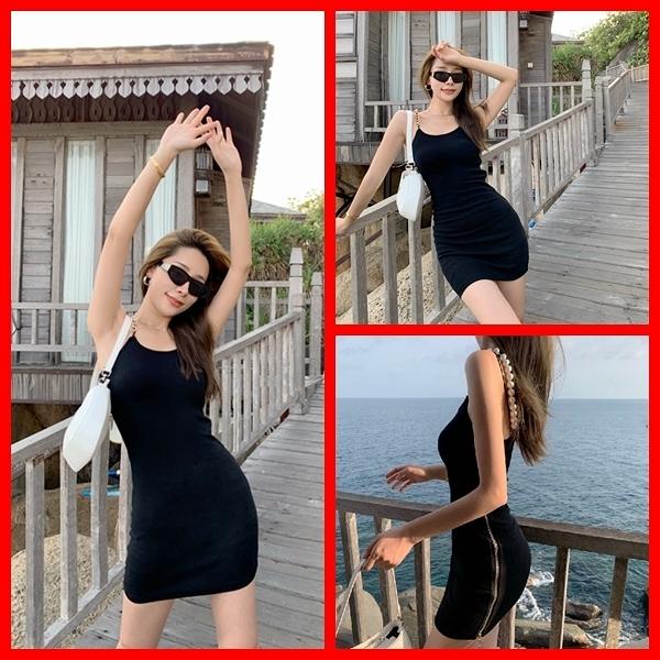 吊帶洋裝 修身顯瘦性感緊身吊帶連身裙 依米迦